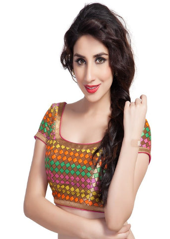 neon-multi Color Brocade Readymade Function Wear Blouses ( Sizes - 32, 34, 36, 38, 40, 42 ): Samita Collection  YF-38982