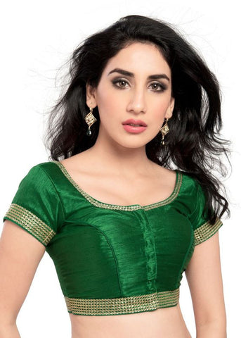 green Color Dupion Silk Readymade Function Wear Blouses ( Sizes - 32, 34, 36, 38, 40, 42 ): Samita Collection  YF-38988
