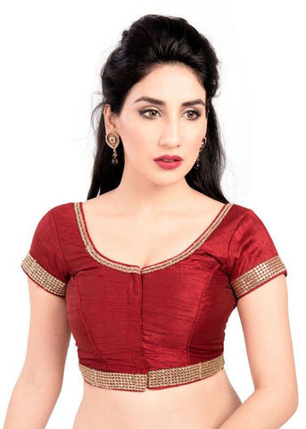 maroon Color Dupion Silk Readymade Function Wear Blouses ( Sizes - 32, 34, 36, 38, 40, 42 ): Samita Collection  YF-38994