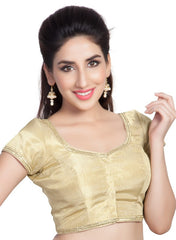 Gold Color Jute Shimmer Readymade Party Wear Blouses (32,34,36,38,40,42): Safeena Collection  YF-51255