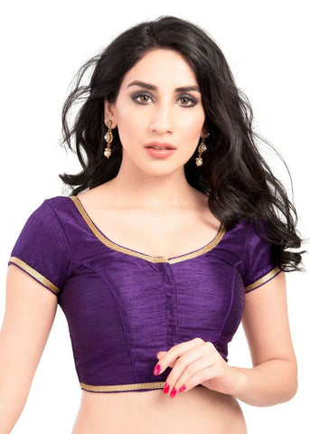 brinjal Color Brocade Readymade Function Wear Blouses ( Sizes - 32, 34, 36, 38, 40, 42 ): Samita Collection  YF-39042