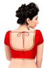 red Color Brocade Readymade Function Wear Blouses ( Sizes - 32, 34, 36, 38, 40, 42 ): Samita Collection  YF-39108
