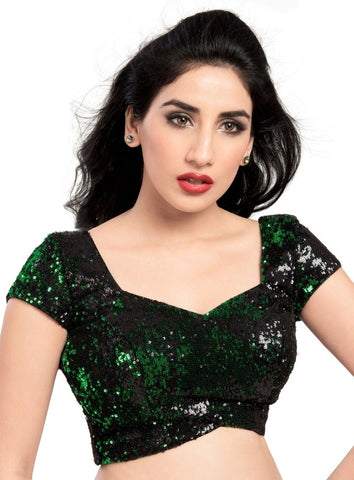 Green Color Velvet Readymade Party Wear Blouses (32,34,36,38,40,42): Safeena Collection  YF-51273
