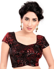 Maroon Color Velvet Readymade Party Wear Blouses (32,34,36,38,40,42): Safeena Collection  YF-51279