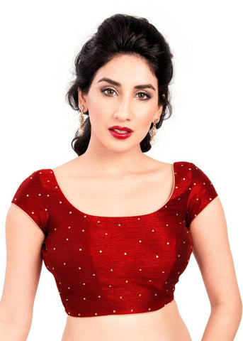 maroon Color Dupion Silk Readymade Function Wear Blouses ( Sizes - 32, 34, 36, 38, 40, 42 ): Samita Collection  YF-39150