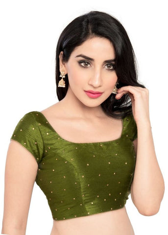 mehendi-green Color Dupion Silk Readymade Function Wear Blouses ( Sizes - 32, 34, 36, 38, 40, 42 ): Samita Collection  YF-39156