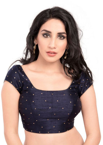 navy-blue Color Dupion Silk Readymade Function Wear Blouses ( Sizes - 32, 34, 36, 38, 40, 42 ): Samita Collection  YF-39162
