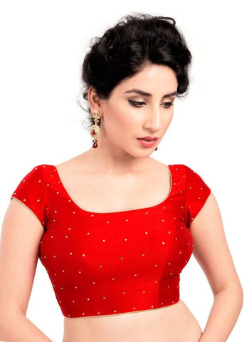 red Color Dupion Silk Readymade Function Wear Blouses ( Sizes - 32, 34, 36, 38, 40, 42 ): Samita Collection  YF-39180