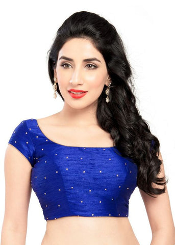 royal-blue Color Dupion Silk Readymade Function Wear Blouses ( Sizes - 32, 34, 36, 38, 40, 42 ): Samita Collection  YF-39132