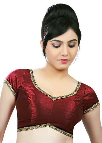 maroon Color Dupion Silk Readymade Function Wear Blouses ( Sizes - 32, 34, 36, 38, 40, 42 ): Samita Collection  YF-39222