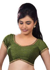 mehandi-green Color Dupion Silk Readymade Function Wear Blouses ( Sizes - 32, 34, 36, 38, 40, 42 ): Samita Collection  YF-39228