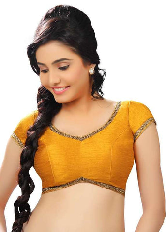 mustard Color Dupion Silk Readymade Function Wear Blouses ( Sizes - 32, 34, 36, 38, 40, 42 ): Samita Collection  YF-39234