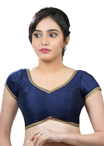 navy-blue Color Dupion Silk Readymade Function Wear Blouses ( Sizes - 32, 34, 36, 38, 40, 42 ): Samita Collection  YF-39240