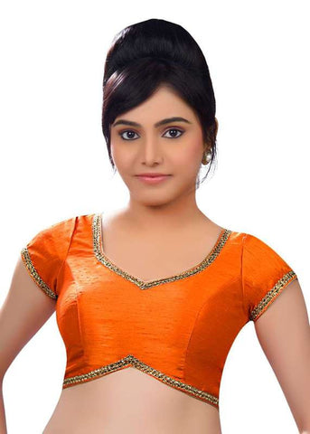 orange Color Dupion Silk Readymade Function Wear Blouses ( Sizes - 32, 34, 36, 38, 40, 42 ): Samita Collection  YF-39252