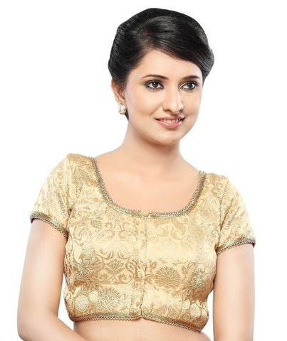 Gold Color Brocade Readymade Party Wear Blouses (32,34,36,38,40,42): Sanjana Collection  YF-41853