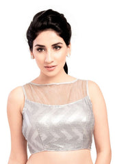 silver Color Sequence Readymade Function Wear Blouses ( Sizes - 32, 34, 36, 38, 40, 42 ): Samita Collection  YF-39294