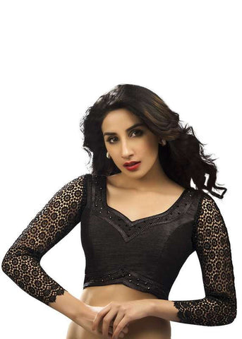 black Color Fancy  Readymade Function Wear Blouses ( Sizes - 32, 34, 36, 38, 40, 42 ): Samita Collection  YF-39300