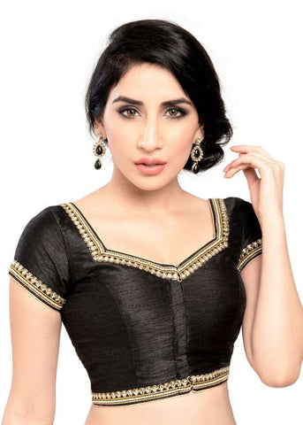 black Color Dupion Silk Readymade Function Wear Blouses ( Sizes - 32, 34, 36, 38, 40, 42 ): Samita Collection  YF-39306