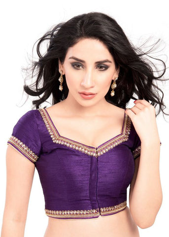 brinjal Color Dupion Silk Readymade Function Wear Blouses ( Sizes - 32, 34, 36, 38, 40, 42 ): Samita Collection  YF-39312