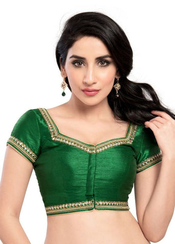 green Color Dupion Silk Readymade Function Wear Blouses ( Sizes - 32, 34, 36, 38, 40, 42 ): Samita Collection  YF-39324