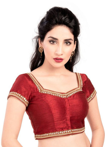 maroon Color Dupion Silk Readymade Function Wear Blouses ( Sizes - 32, 34, 36, 38, 40, 42 ): Samita Collection  YF-39330