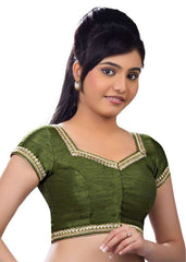 mehandi-green Color Dupion Silk Readymade Function Wear Blouses ( Sizes - 32, 34, 36, 38, 40, 42 ): Samita Collection  YF-39336
