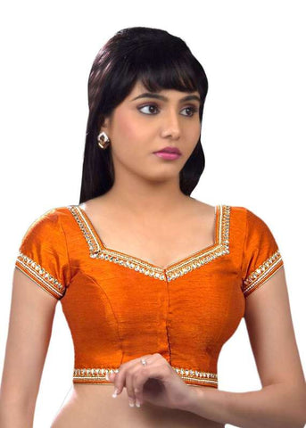 orange Color Dupion Silk Readymade Function Wear Blouses ( Sizes - 32, 34, 36, 38, 40, 42 ): Samita Collection  YF-39348