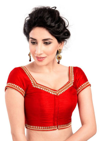 red Color Dupion Silk Readymade Function Wear Blouses ( Sizes - 32, 34, 36, 38, 40, 42 ): Samita Collection  YF-39360