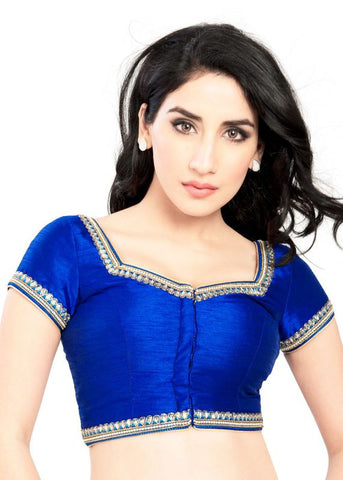 royal-blue Color Dupion Silk Readymade Function Wear Blouses ( Sizes - 32, 34, 36, 38, 40, 42 ): Samita Collection  YF-39366