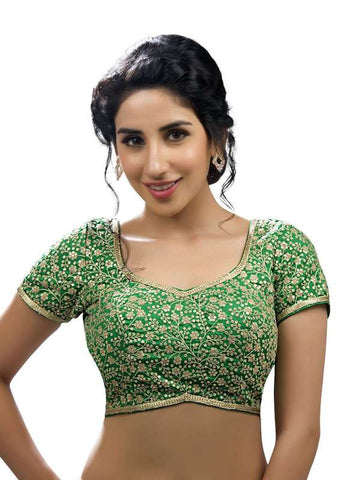 green Color Embroidery Readymade Function Wear Blouses ( Sizes - 32, 34, 36, 38, 40, 42 ): Samita Collection  YF-39384