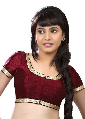 maroon Color Dupion Silk Readymade Function Wear Blouses ( Sizes - 32, 34, 36, 38, 40, 42 ): Samita Collection  YF-39420