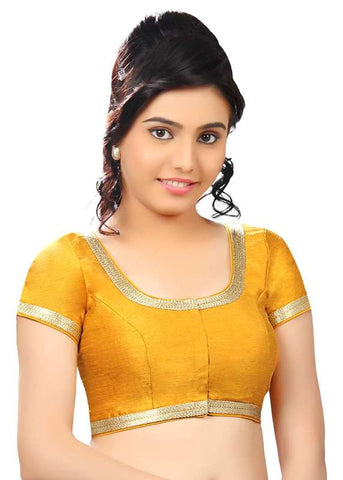 mustard Color Dupion Silk Readymade Function Wear Blouses ( Sizes - 32, 34, 36, 38, 40, 42 ): Samita Collection  YF-39426