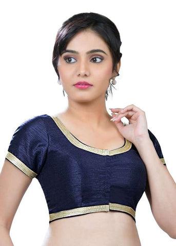 navy-blue Color Dupion Silk Readymade Function Wear Blouses ( Sizes - 32, 34, 36, 38, 40, 42 ): Samita Collection  YF-39432