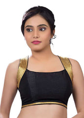 black Color Dupion Silk Readymade Function Wear Blouses ( Sizes - 32, 34, 36, 38, 40, 42 ): Samita Collection  YF-39456