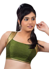 mehandi-green Color Dupion Silk Readymade Function Wear Blouses ( Sizes - 32, 34, 36, 38, 40, 42 ): Samita Collection  YF-39480