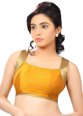 mustard Color Dupion Silk Readymade Function Wear Blouses ( Sizes - 32, 34, 36, 38, 40, 42 ): Samita Collection  YF-39486