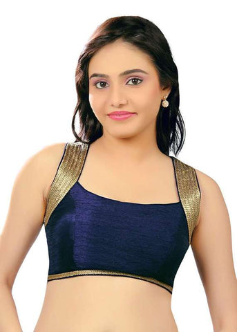 navy-blue Color Dupion Silk Readymade Function Wear Blouses ( Sizes - 32, 34, 36, 38, 40, 42 ): Samita Collection  YF-39492