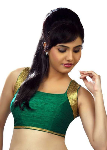 rama-green Color Dupion Silk Readymade Function Wear Blouses ( Sizes - 32, 34, 36, 38, 40, 42 ): Samita Collection  YF-39522