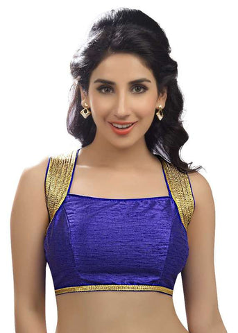 royal-blue Color Dupion Silk Readymade Function Wear Blouses ( Sizes - 32, 34, 36, 38, 40, 42 ): Samita Collection  YF-39534