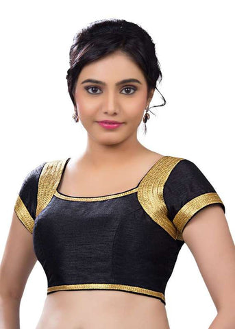 black Color Dupion Silk Readymade Function Wear Blouses ( Sizes - 32, 34, 36, 38, 40, 42 ): Samita Collection  YF-39540