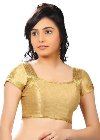 gold Color Dupion Silk Readymade Function Wear Blouses ( Sizes - 32, 34, 36, 38, 40, 42 ): Samita Collection  YF-39552
