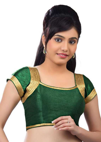 green Color Dupion Silk Readymade Function Wear Blouses ( Sizes - 32, 34, 36, 38, 40, 42 ): Samita Collection  YF-39558