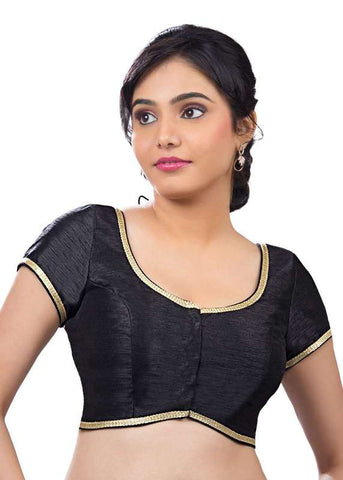 black Color Dupion Silk Readymade Function Wear Blouses ( Sizes - 32, 34, 36, 38, 40, 42 ): Samita Collection  YF-39570