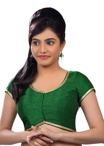 green Color Dupion Silk Readymade Function Wear Blouses ( Sizes - 32, 34, 36, 38, 40, 42 ): Samita Collection  YF-39588