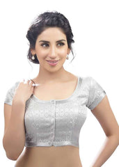 silver Color Brocade Readymade Function Wear Blouses ( Sizes - 32, 34, 36, 38, 40, 42 ): Samita Collection  YF-39624