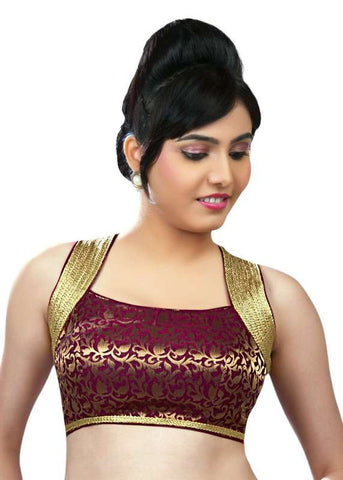 maroon Color Brocade Readymade Function Wear Blouses ( Sizes - 32, 34, 36, 38, 40, 42 ): Samita Collection  YF-39666