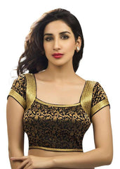 black Color Brocade Readymade Function Wear Blouses ( Sizes - 32, 34, 36, 38, 40, 42 ): Samita Collection  YF-39678