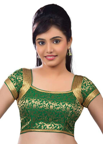 green Color Brocade Readymade Function Wear Blouses ( Sizes - 32, 34, 36, 38, 40, 42 ): Samita Collection  YF-39690