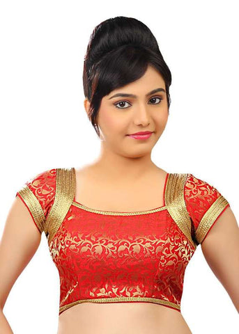 red Color Brocade Readymade Function Wear Blouses ( Sizes - 32, 34, 36, 38, 40, 42 ): Samita Collection  YF-39702