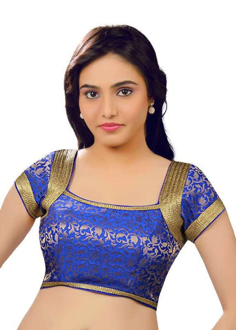 royal-blue Color Brocade Readymade Function Wear Blouses ( Sizes - 32, 34, 36, 38, 40, 42 ): Samita Collection  YF-39708
